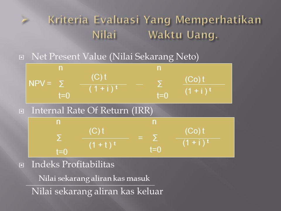 Kriteria Evaluasi Yang Memperhatikan Nilai Waktu Uang.