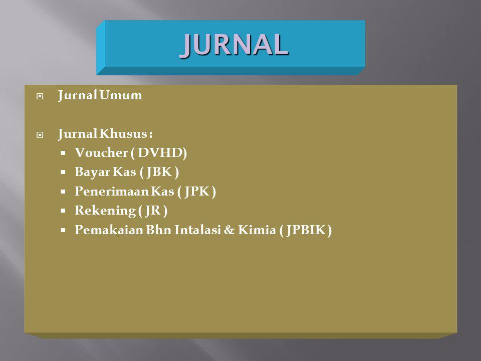 JURNAL Jurnal Umum Jurnal Khusus : Voucher ( DVHD) Bayar Kas ( JBK )