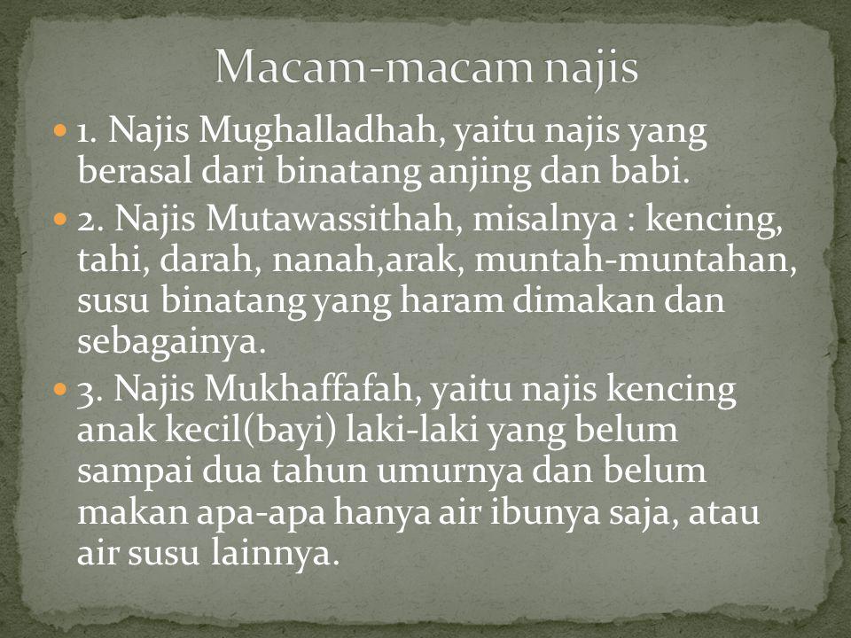 Macam-macam najis 1. Najis Mughalladhah, yaitu najis yang berasal dari binatang anjing dan babi.