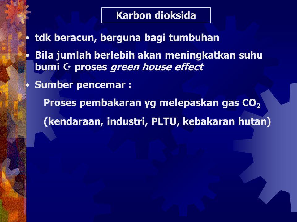 Karbon dioksida tdk beracun, berguna bagi tumbuhan. Bila jumlah berlebih akan meningkatkan suhu bumi  proses green house effect.