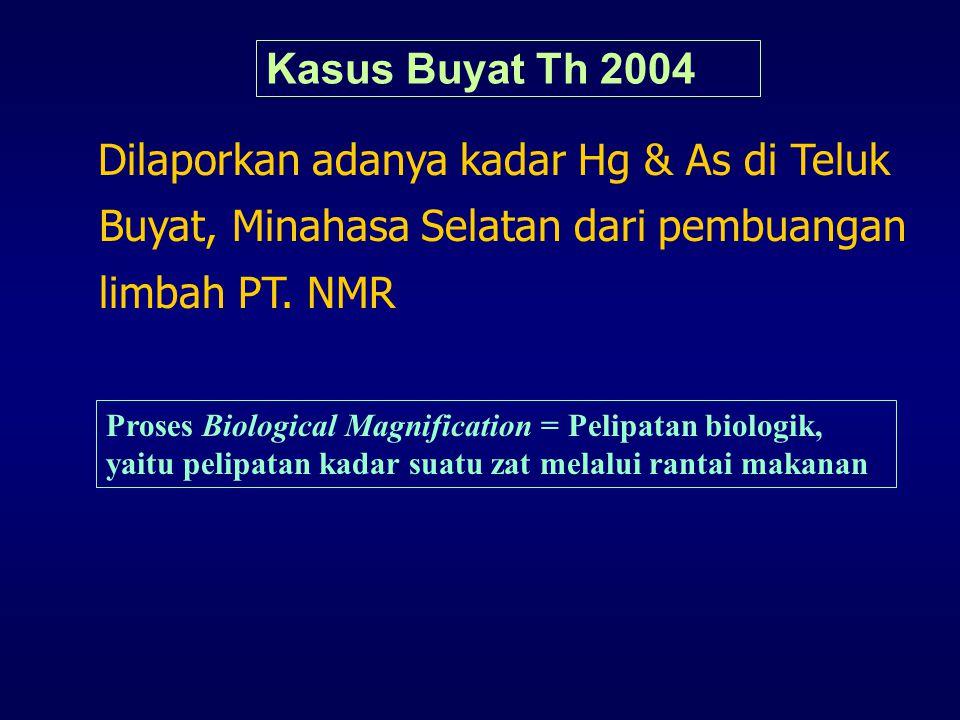 Kasus Buyat Th 2004 Dilaporkan adanya kadar Hg & As di Teluk Buyat, Minahasa Selatan dari pembuangan limbah PT. NMR.