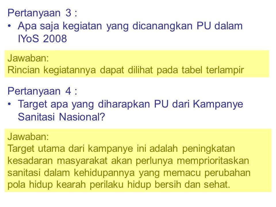 Pertanyaan 5 : Apakah Kampanye Sanitasi dalam rangka IYoS 2008 hanya dilaksanakan oleh PU Jawaban: