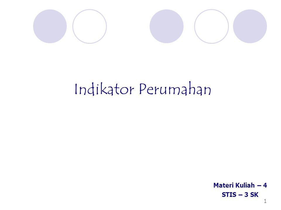 Indikator Perumahan Materi Kuliah – 4 STIS – 3 SK 1 1