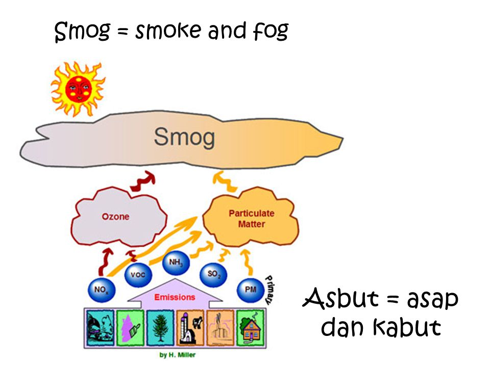 Smog = smoke and fog Asbut = asap dan kabut