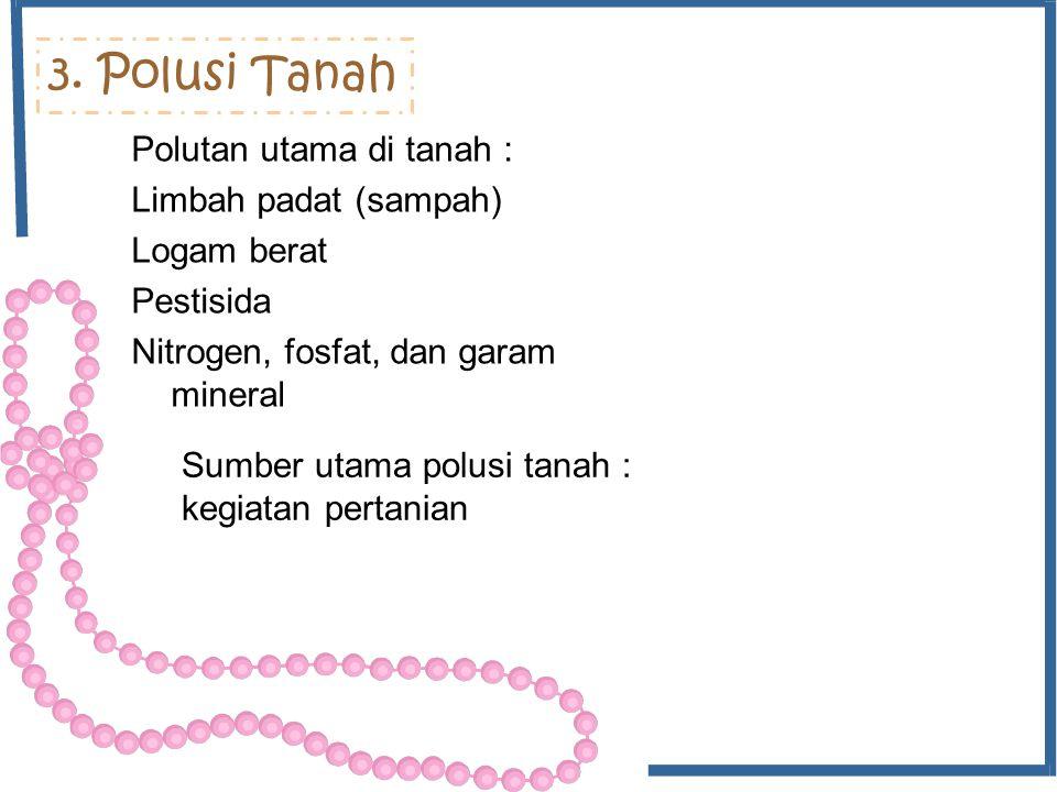 3. Polusi Tanah Polutan utama di tanah : Limbah padat (sampah)