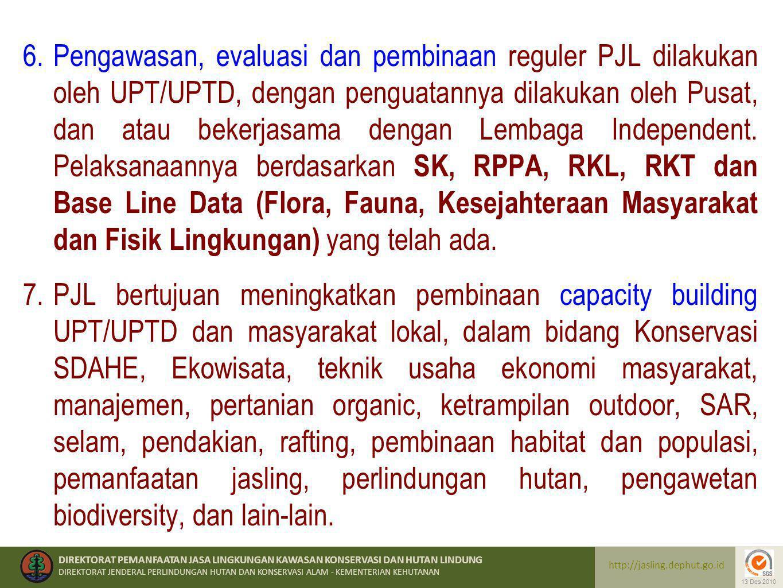 Pengawasan, evaluasi dan pembinaan reguler PJL dilakukan oleh UPT/UPTD, dengan penguatannya dilakukan oleh Pusat, dan atau bekerjasama dengan Lembaga Independent. Pelaksanaannya berdasarkan SK, RPPA, RKL, RKT dan Base Line Data (Flora, Fauna, Kesejahteraan Masyarakat dan Fisik Lingkungan) yang telah ada.