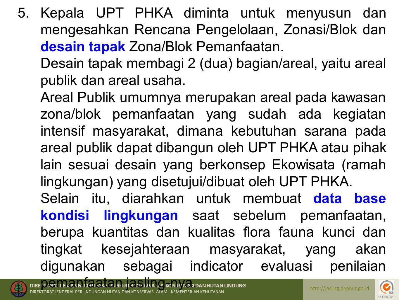 Kepala UPT PHKA diminta untuk menyusun dan mengesahkan Rencana Pengelolaan, Zonasi/Blok dan desain tapak Zona/Blok Pemanfaatan.