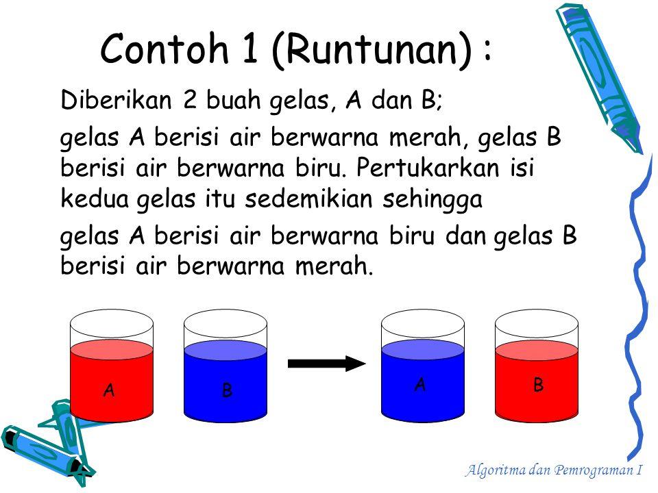 Contoh 1 (Runtunan) : Diberikan 2 buah gelas, A dan B;