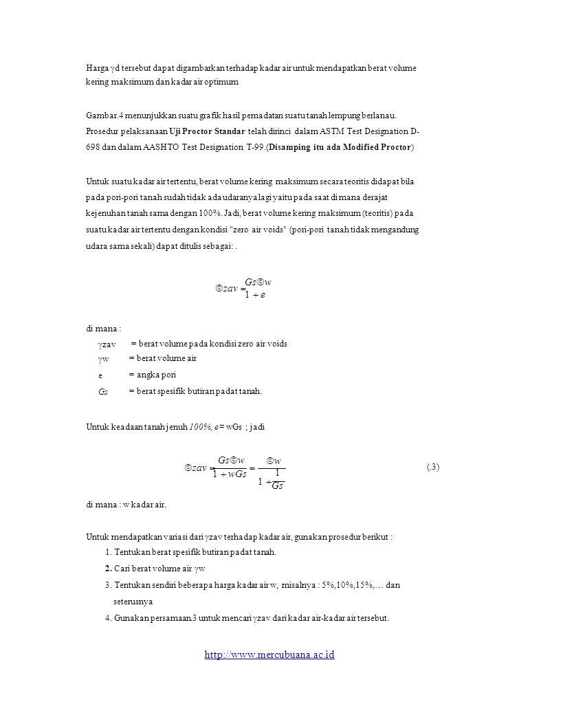 = berat volume pada kondisi zero air voids