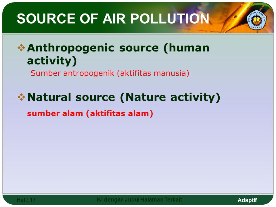 SOURCE OF AIR POLLUTION