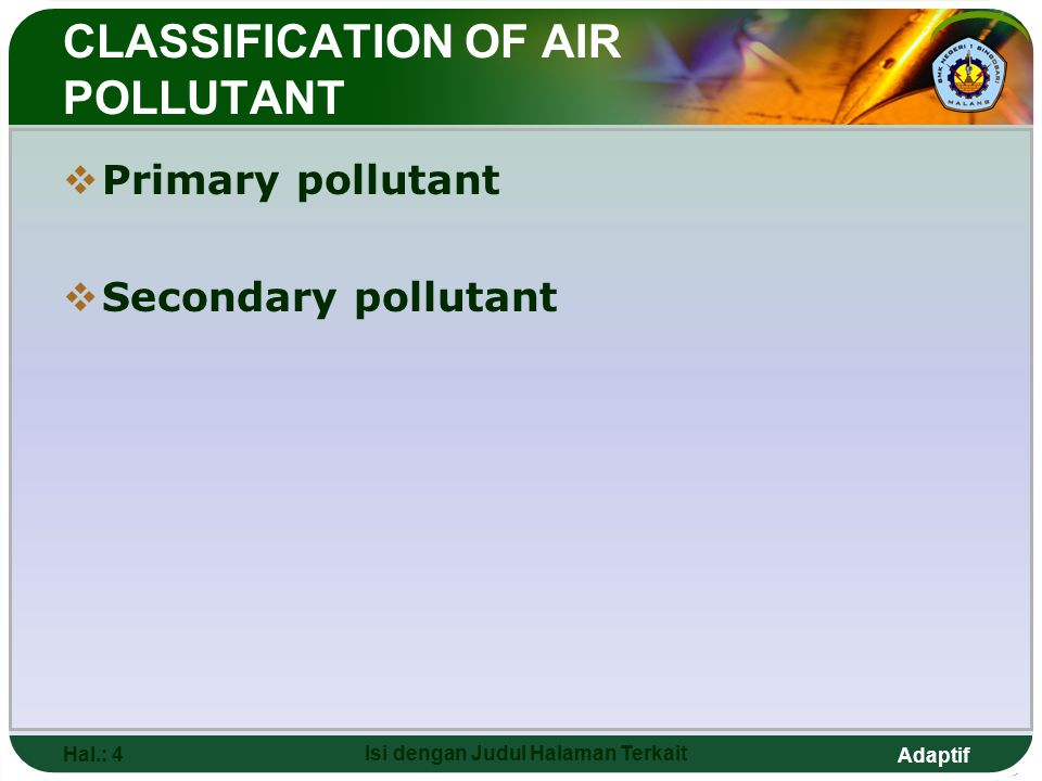 CLASSIFICATION OF AIR POLLUTANT