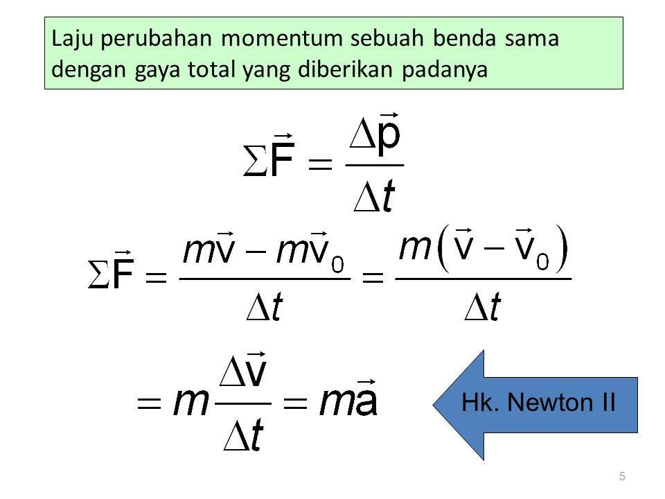 Laju perubahan momentum sebuah benda sama dengan gaya total yang diberikan padanya