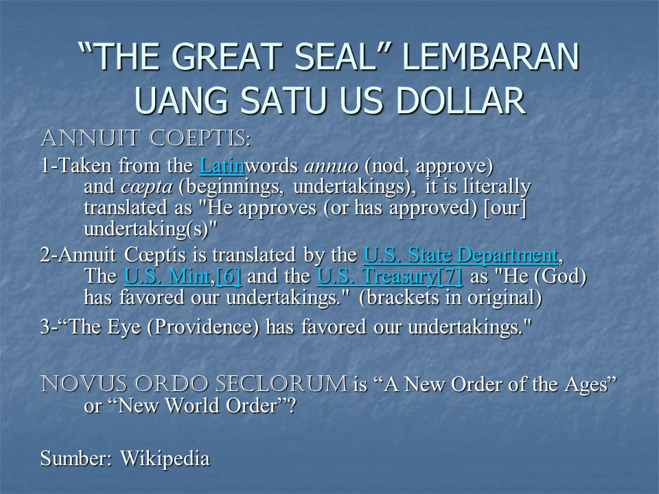 THE GREAT SEAL LEMBARAN UANG SATU US DOLLAR
