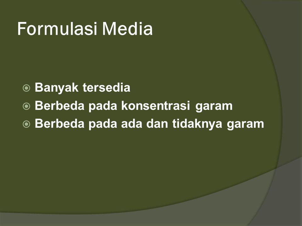 Formulasi Media Banyak tersedia Berbeda pada konsentrasi garam