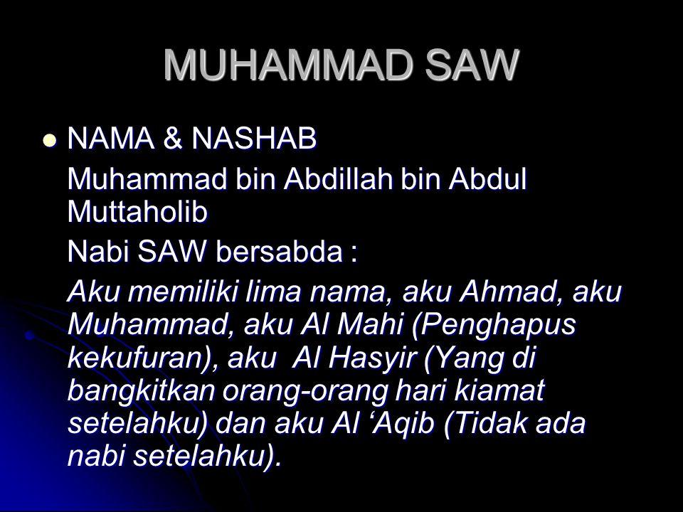 MUHAMMAD SAW NAMA & NASHAB Muhammad bin Abdillah bin Abdul Muttaholib