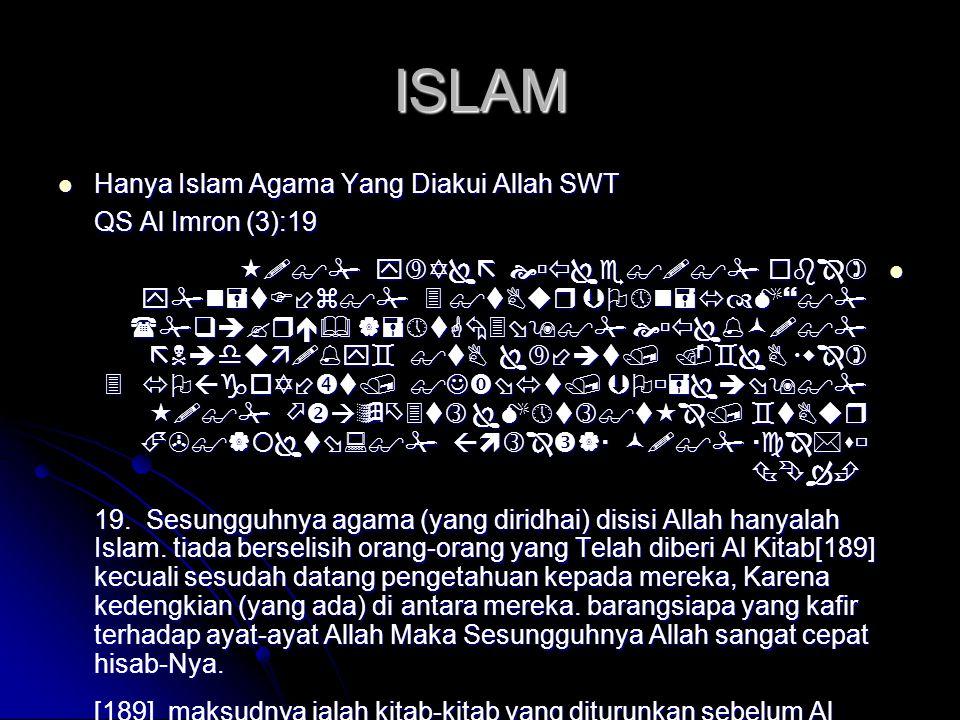ISLAM Hanya Islam Agama Yang Diakui Allah SWT QS Al Imron (3):19