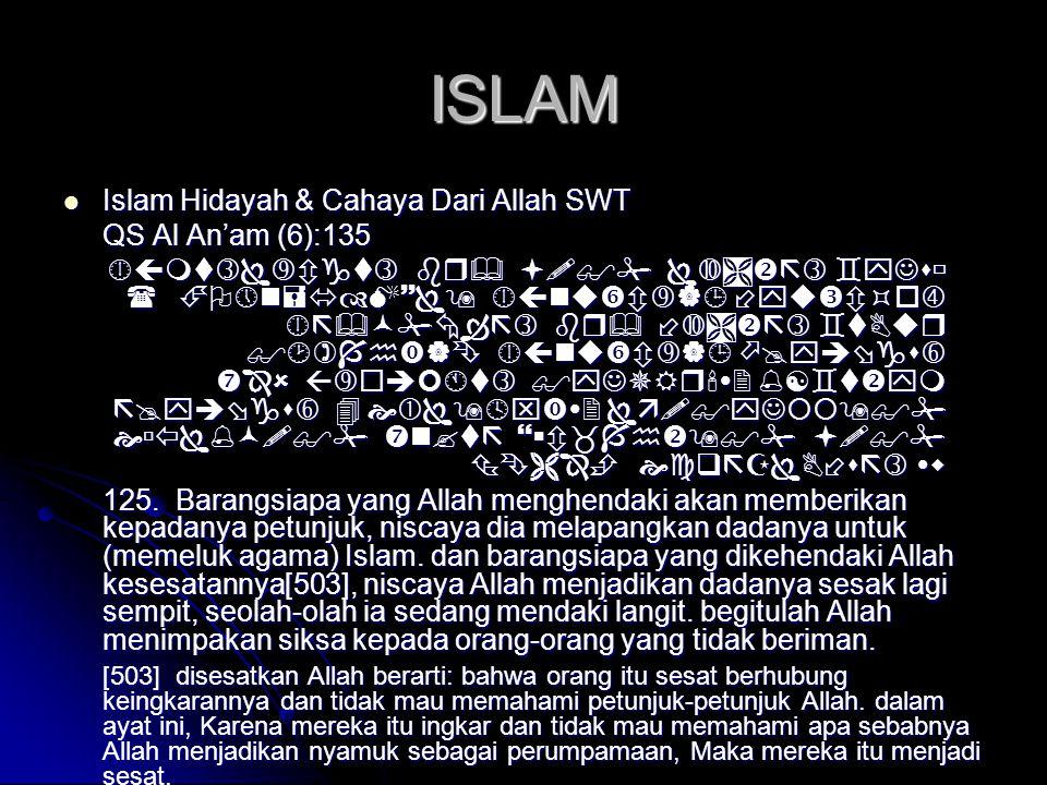 ISLAM Islam Hidayah & Cahaya Dari Allah SWT QS Al An'am (6):135