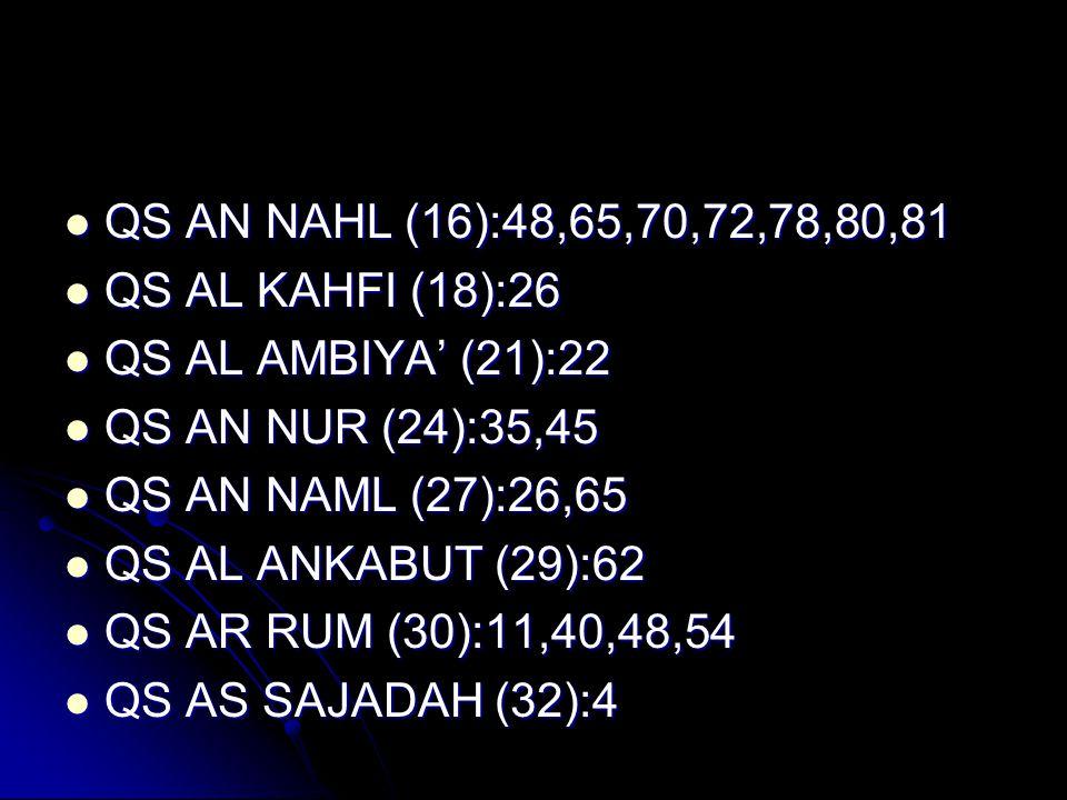QS AN NAHL (16):48,65,70,72,78,80,81 QS AL KAHFI (18):26. QS AL AMBIYA' (21):22. QS AN NUR (24):35,45.