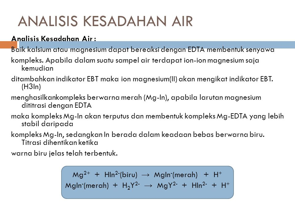ANALISIS KESADAHAN AIR