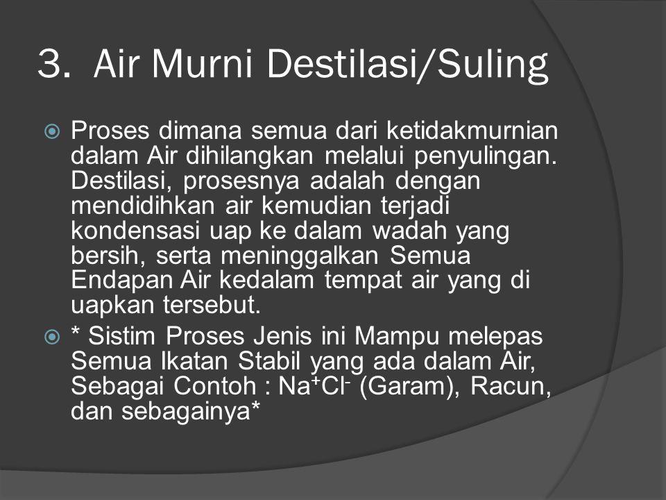 3. Air Murni Destilasi/Suling