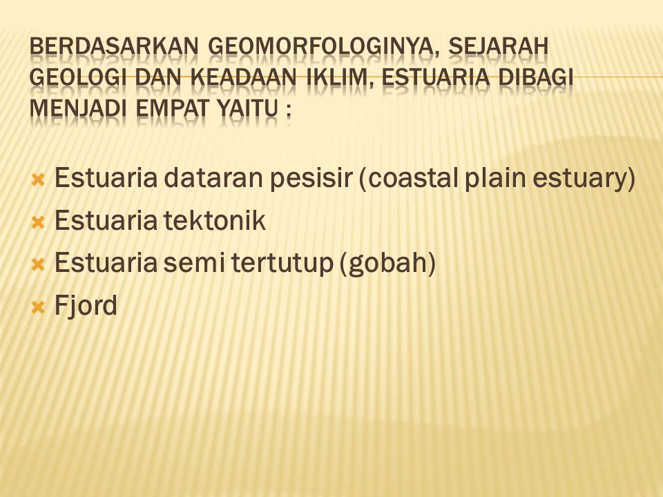 Estuaria dataran pesisir (coastal plain estuary) Estuaria tektonik