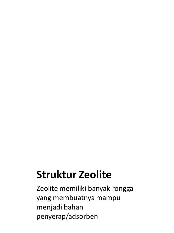 Struktur Zeolite Zeolite memiliki banyak rongga yang membuatnya mampu menjadi bahan penyerap/adsorben.