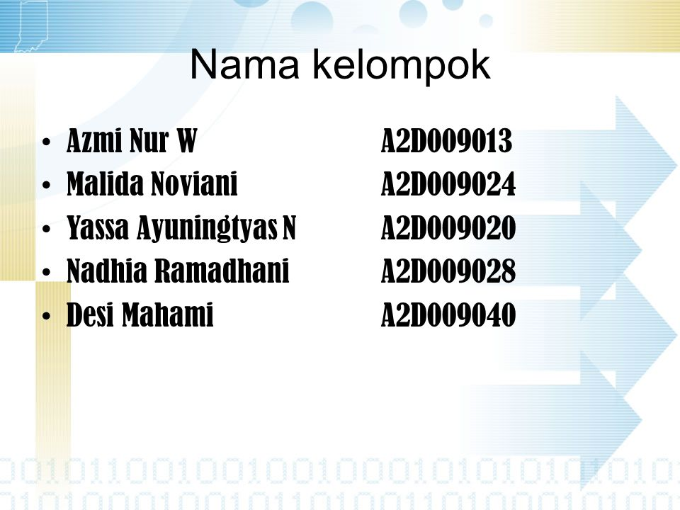 Nama kelompok Azmi Nur W A2D009013 Malida Noviani A2D009024