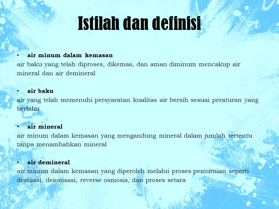 Istilah dan definisi air minum dalam kemasan