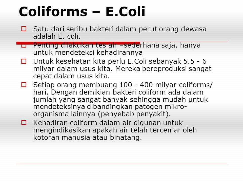 Coliforms – E.Coli Satu dari seribu bakteri dalam perut orang dewasa adalah E. coli.