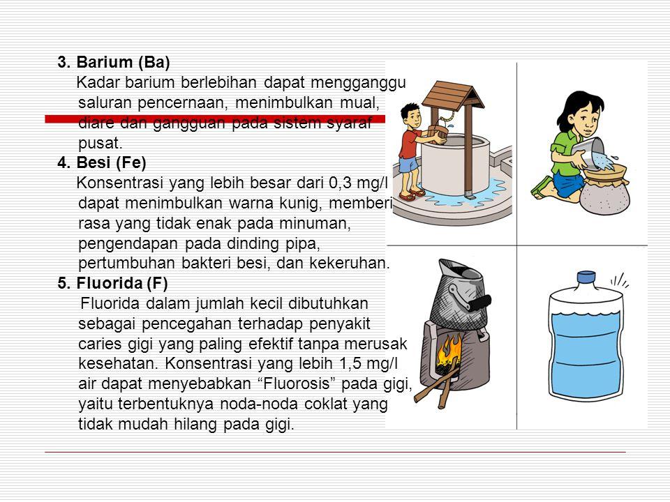 3. Barium (Ba) Kadar barium berlebihan dapat mengganggu saluran pencernaan, menimbulkan mual, diare dan gangguan pada sistem syaraf pusat.