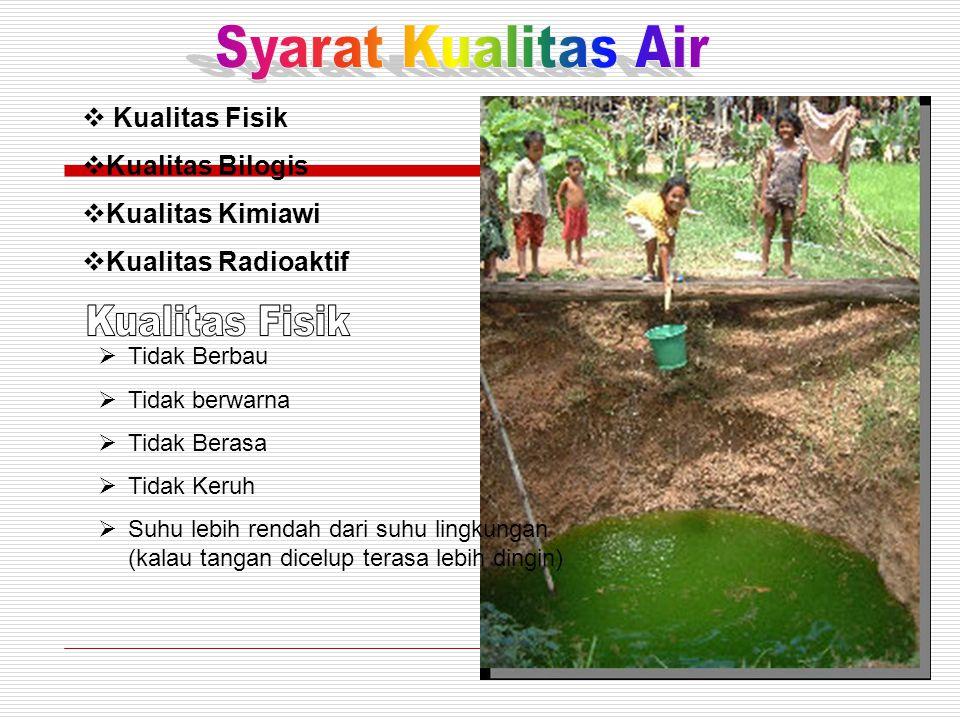 Syarat Kualitas Air Kualitas Fisik Kualitas Fisik Kualitas Bilogis