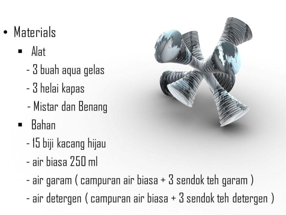 Materials Alat - 3 buah aqua gelas - 3 helai kapas - Mistar dan Benang