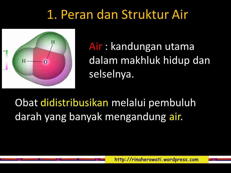 1. Peran dan Struktur Air Air : kandungan utama dalam makhluk hidup dan selselnya.