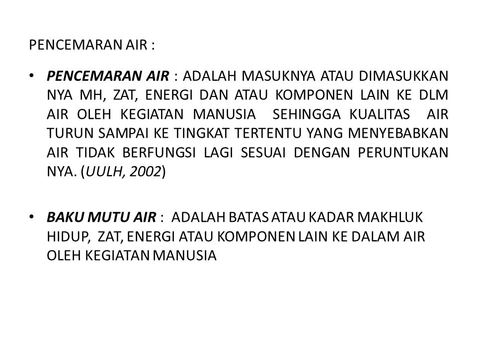 PENCEMARAN AIR :
