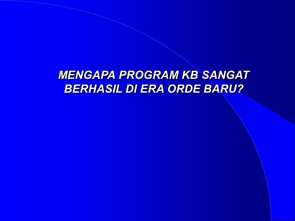 MENGAPA PROGRAM KB SANGAT BERHASIL DI ERA ORDE BARU