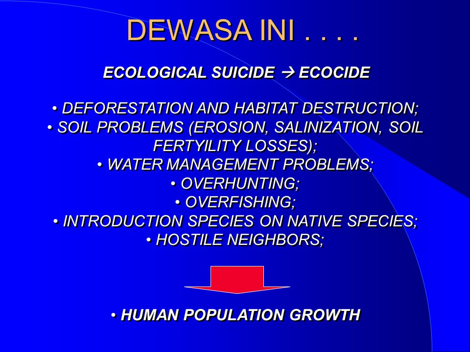 ECOLOGICAL SUICIDE  ECOCIDE