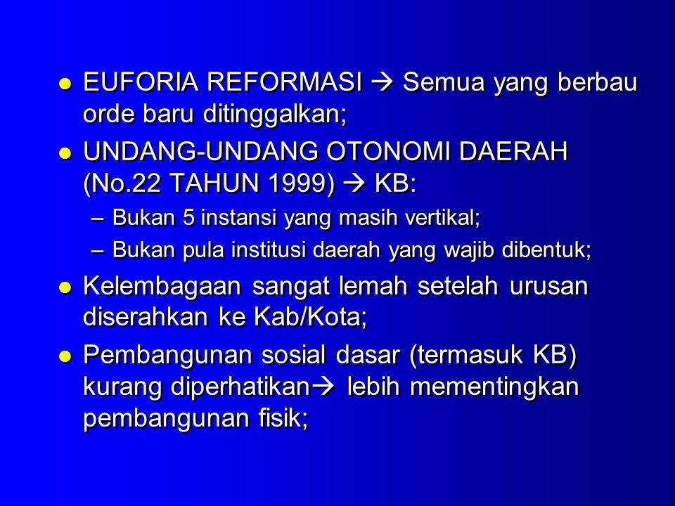 EUFORIA REFORMASI  Semua yang berbau orde baru ditinggalkan;