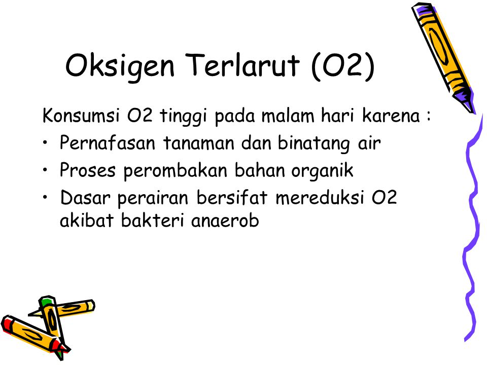 Oksigen Terlarut (O2) Konsumsi O2 tinggi pada malam hari karena :