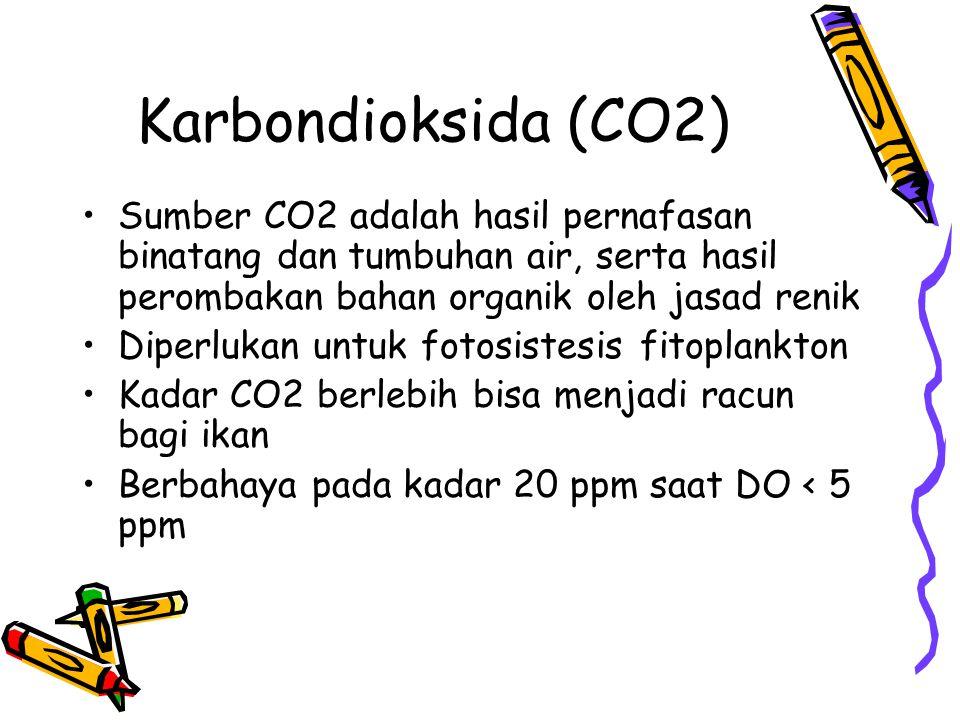 Karbondioksida (CO2) Sumber CO2 adalah hasil pernafasan binatang dan tumbuhan air, serta hasil perombakan bahan organik oleh jasad renik.