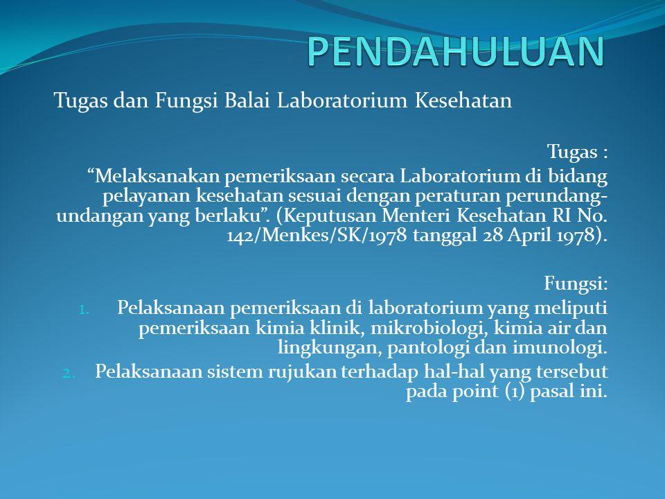 PENDAHULUAN Tugas dan Fungsi Balai Laboratorium Kesehatan Tugas :