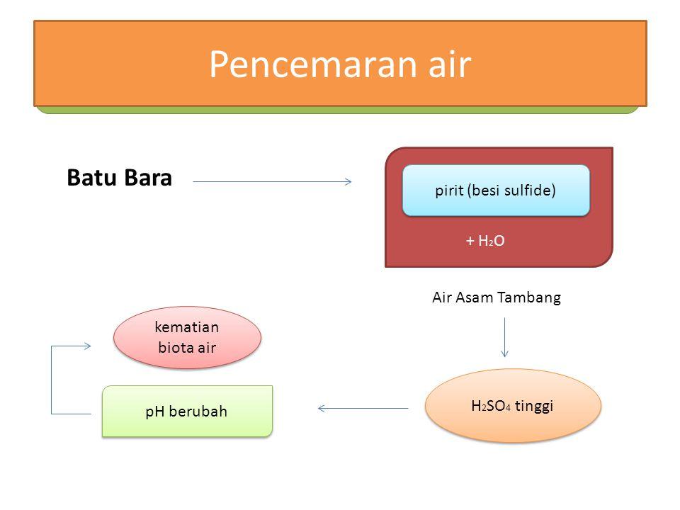 Pencemaran air Batu Bara pirit (besi sulfide) + H2O Air Asam Tambang
