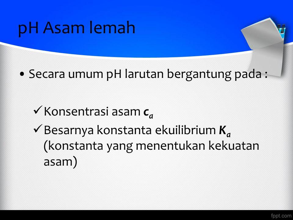 pH Asam lemah Secara umum pH larutan bergantung pada :