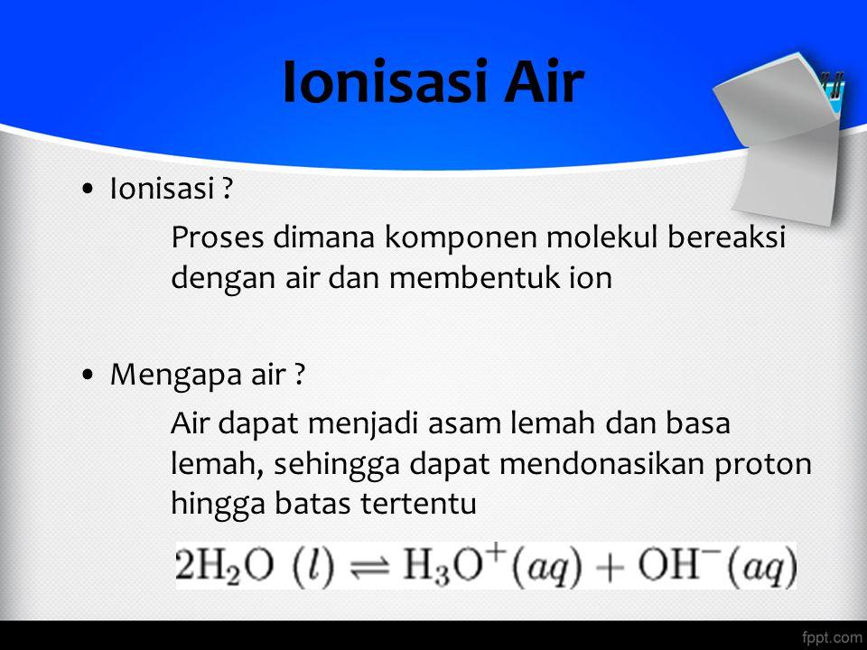 Ionisasi Air Ionisasi Proses dimana komponen molekul bereaksi dengan air dan membentuk ion. Mengapa air