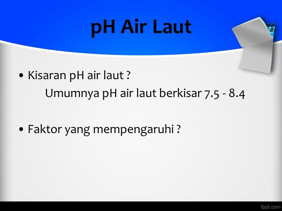 pH Air Laut Kisaran pH air laut