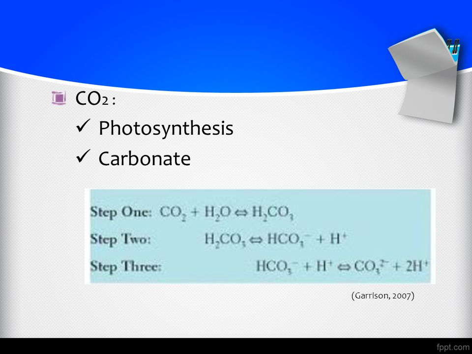 CO2 : Photosynthesis Carbonate (Garrison, 2007)
