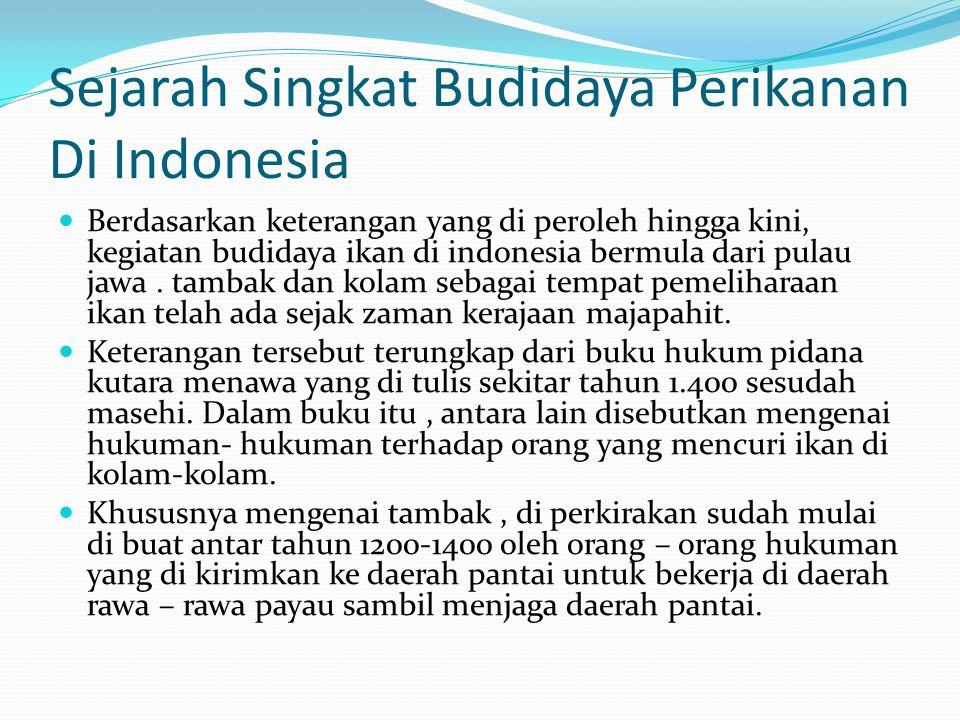 Sejarah Singkat Budidaya Perikanan Di Indonesia