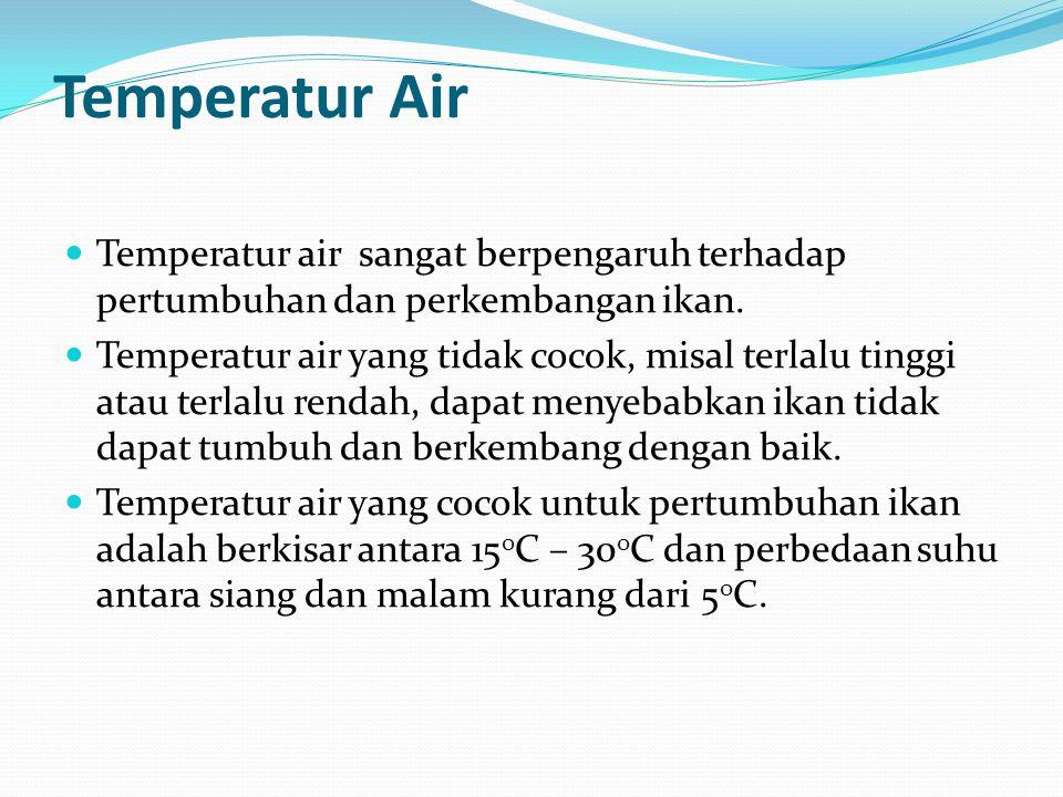 Temperatur Air Temperatur air sangat berpengaruh terhadap pertumbuhan dan perkembangan ikan.