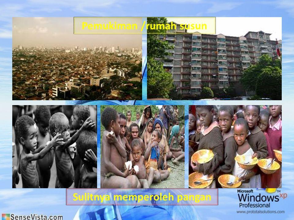 Pemukiman /rumah susun Sulitnya memperoleh pangan