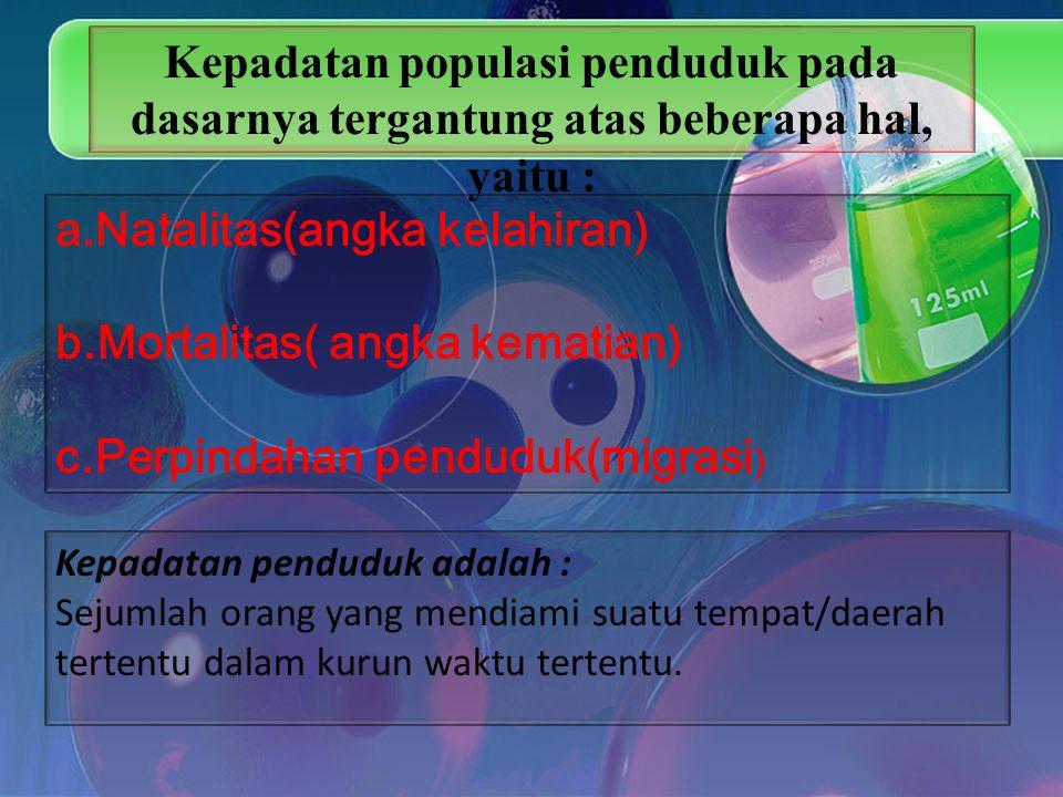 Natalitas(angka kelahiran) b.Mortalitas( angka kematian)