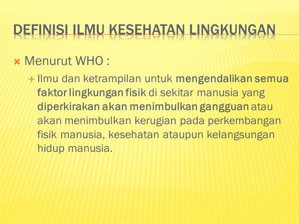 Definisi ilmu kesehatan lingkungan